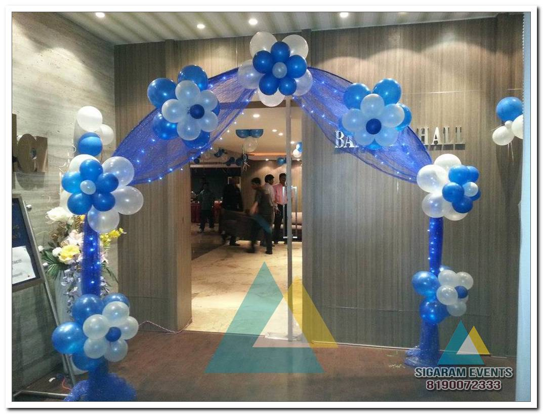 Blue And White Balloon Birthday Party Entrance Arch Decoration