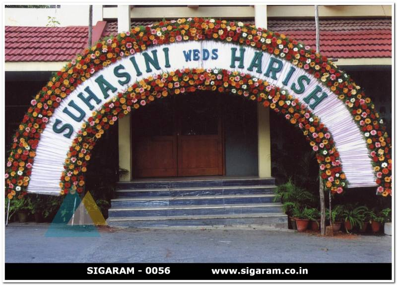Wedding entrance arch decorations pondicherry sigaram for Decorating arches in house
