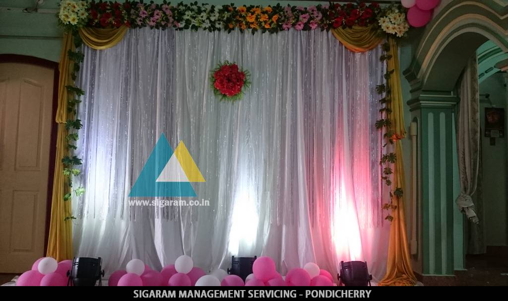 Simple Backdrop Decoration For Kathani Vizha Function