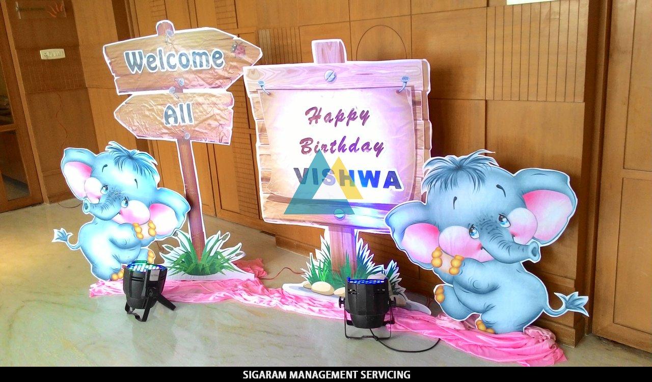 Elephant Theme birthday party Nameboard SIGARAM WEDDING DECORATORS