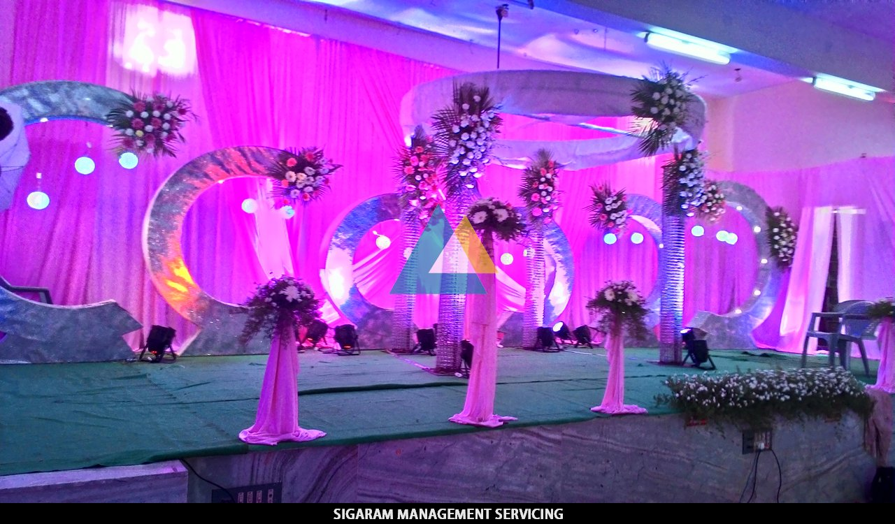 Wedding reception decoration at tittagudi tamilnadu for Hall decoration images