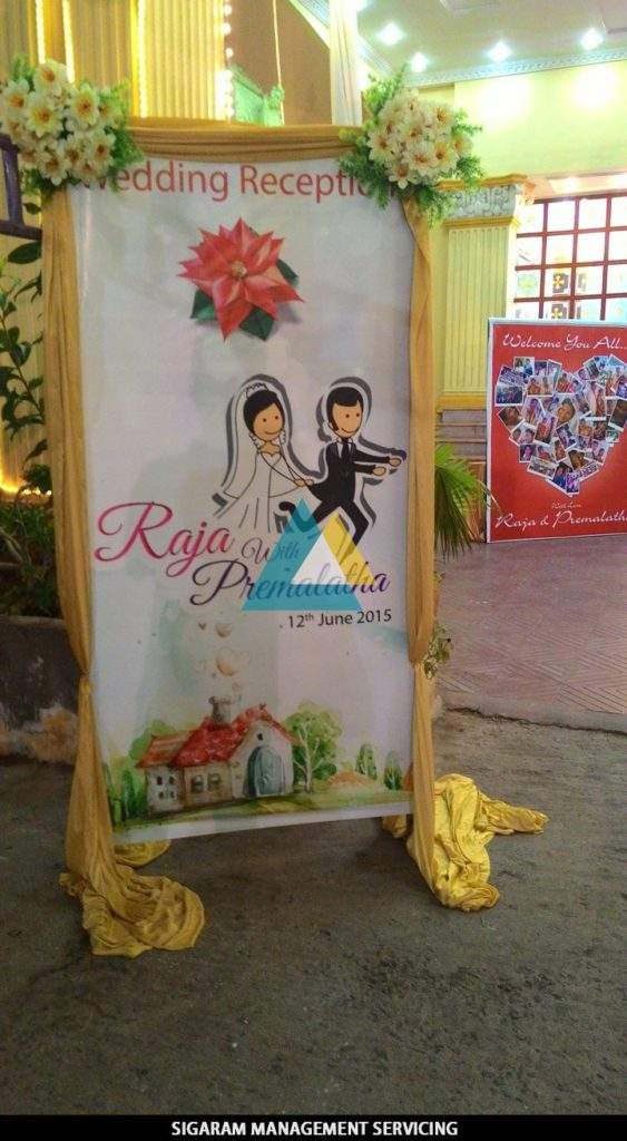 Name Board for Wedding Reception Decoration at Sai Baba Tirumana mandapam, Pondicherry