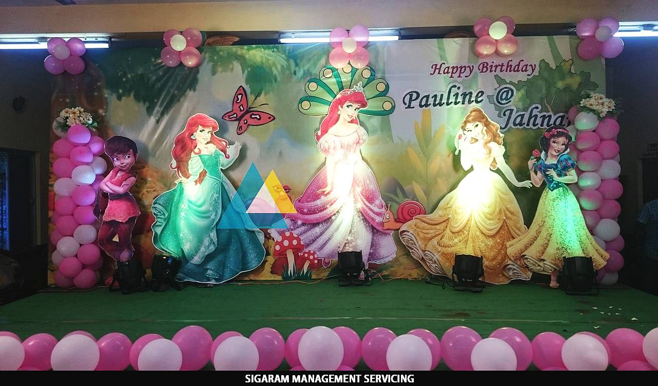 Themed birthday party decoration at pondicherry sigaram for 1st birthday hall decoration