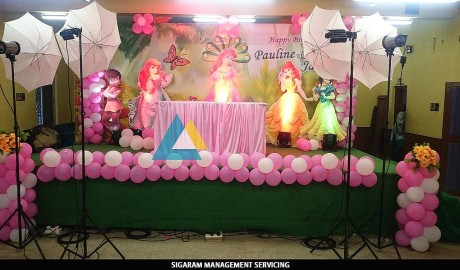 Themed birthday party decoration at pondicherry wedding for Balloon decoration in coimbatore