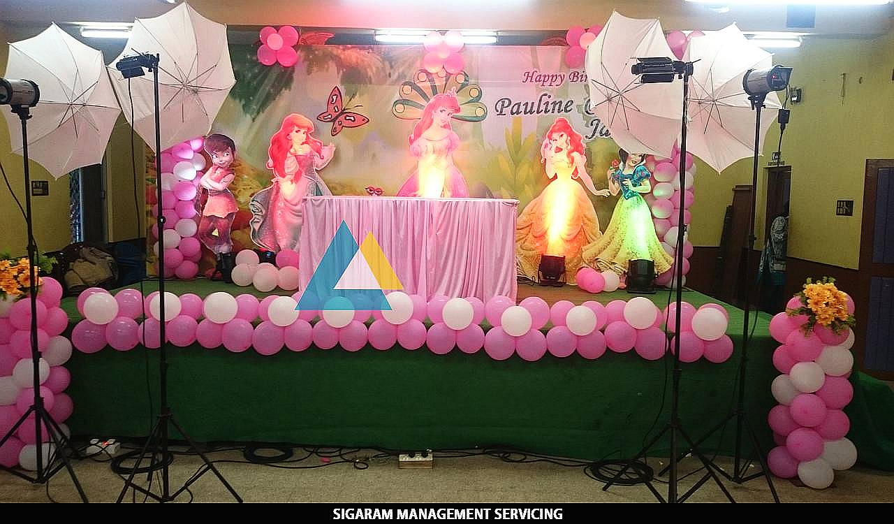 Themed birthday party decoration at pondicherry sigaram for Balloon decoration in coimbatore