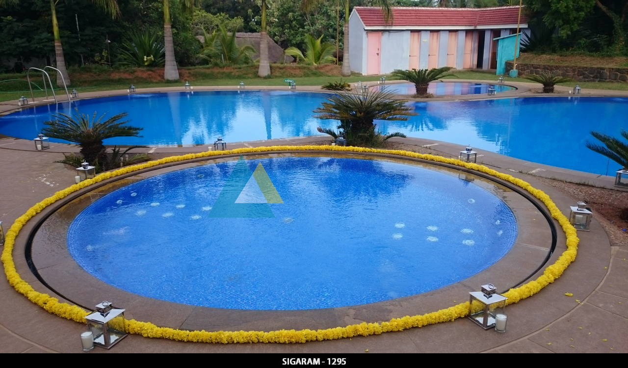 Outdoor engagement decoration done at prince park resort for Swimming pool decorations outdoor