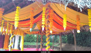 Engagement Decoration with marigold flowers at Prince Park Resort 2