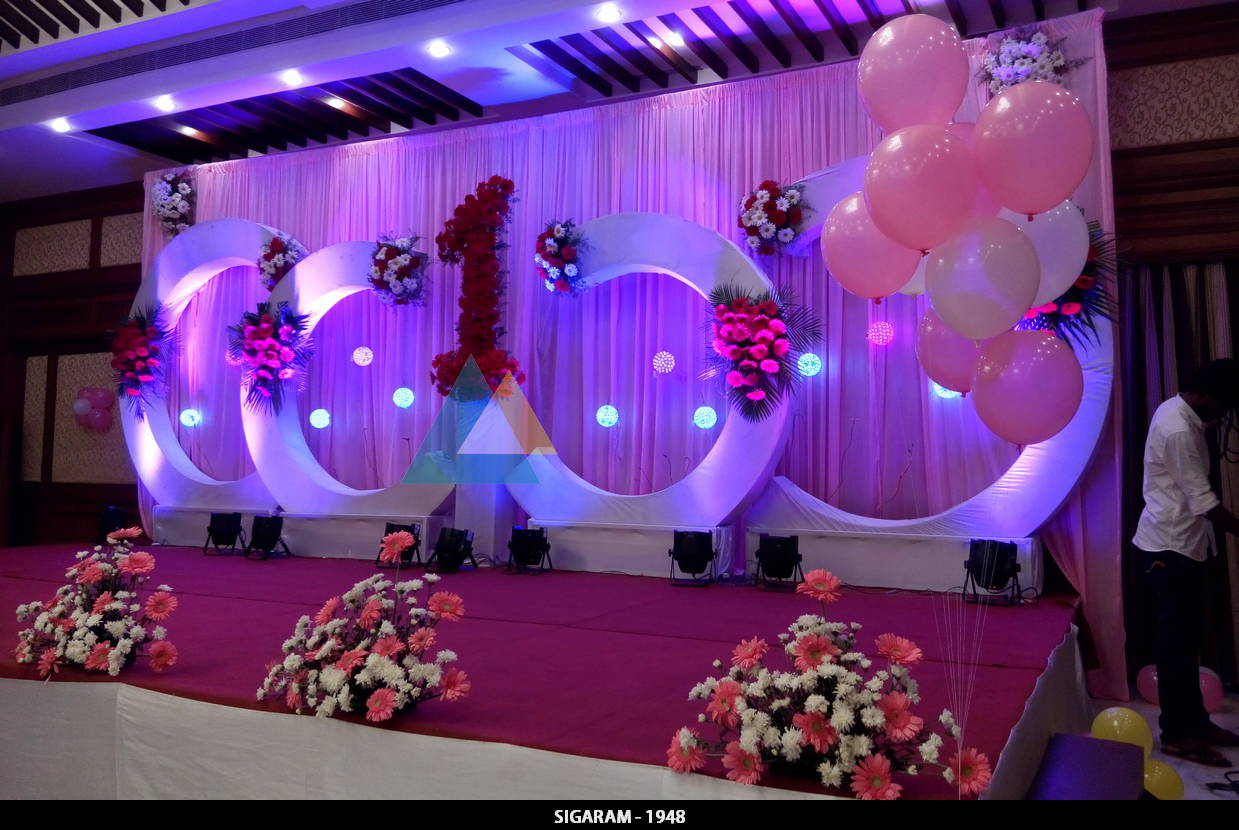 Birthday party decoration at shenbaga hotel and convention for Balloon decoration for stage
