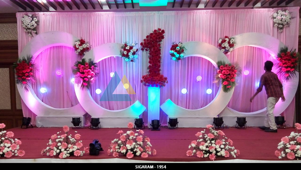 Birthday party decoration at shenbaga hotel and convention for 1st birthday hall decoration
