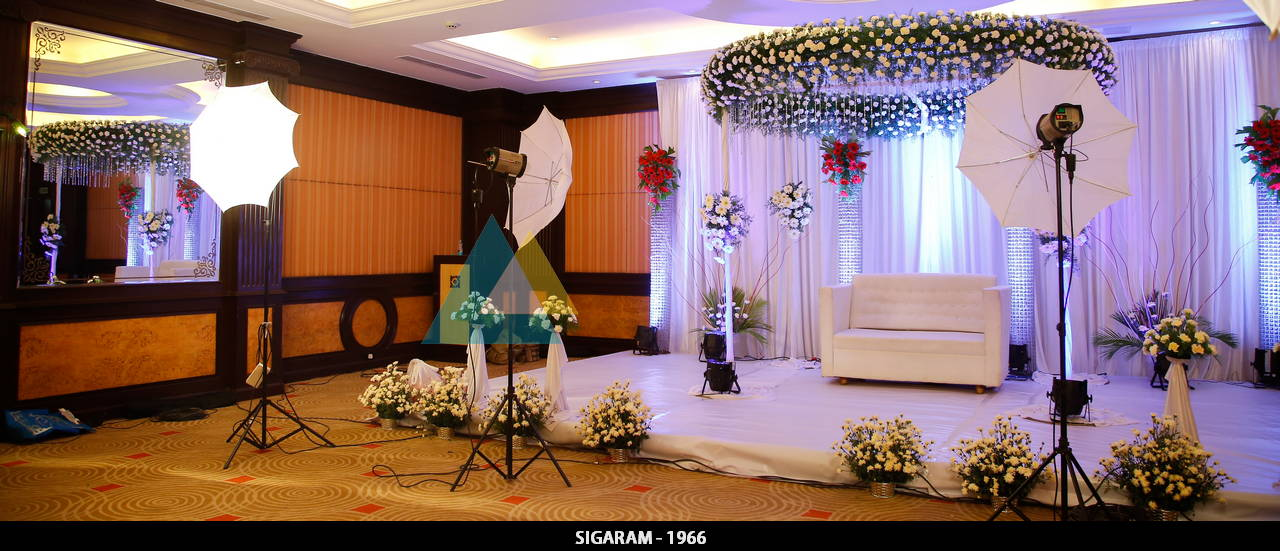 Wedding reception stage decoration done at the residency for Hotel wedding decor