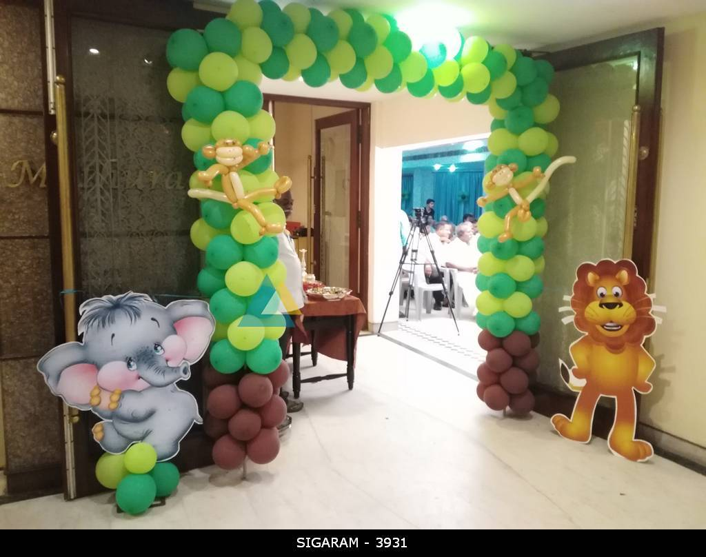 Forest themed birthday decoration at jayaram hotel for Balloon decoration in coimbatore