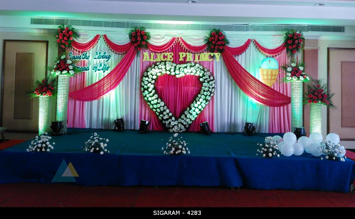 Wedding reception decorations chennai wedding reception for Auditorium stage decoration