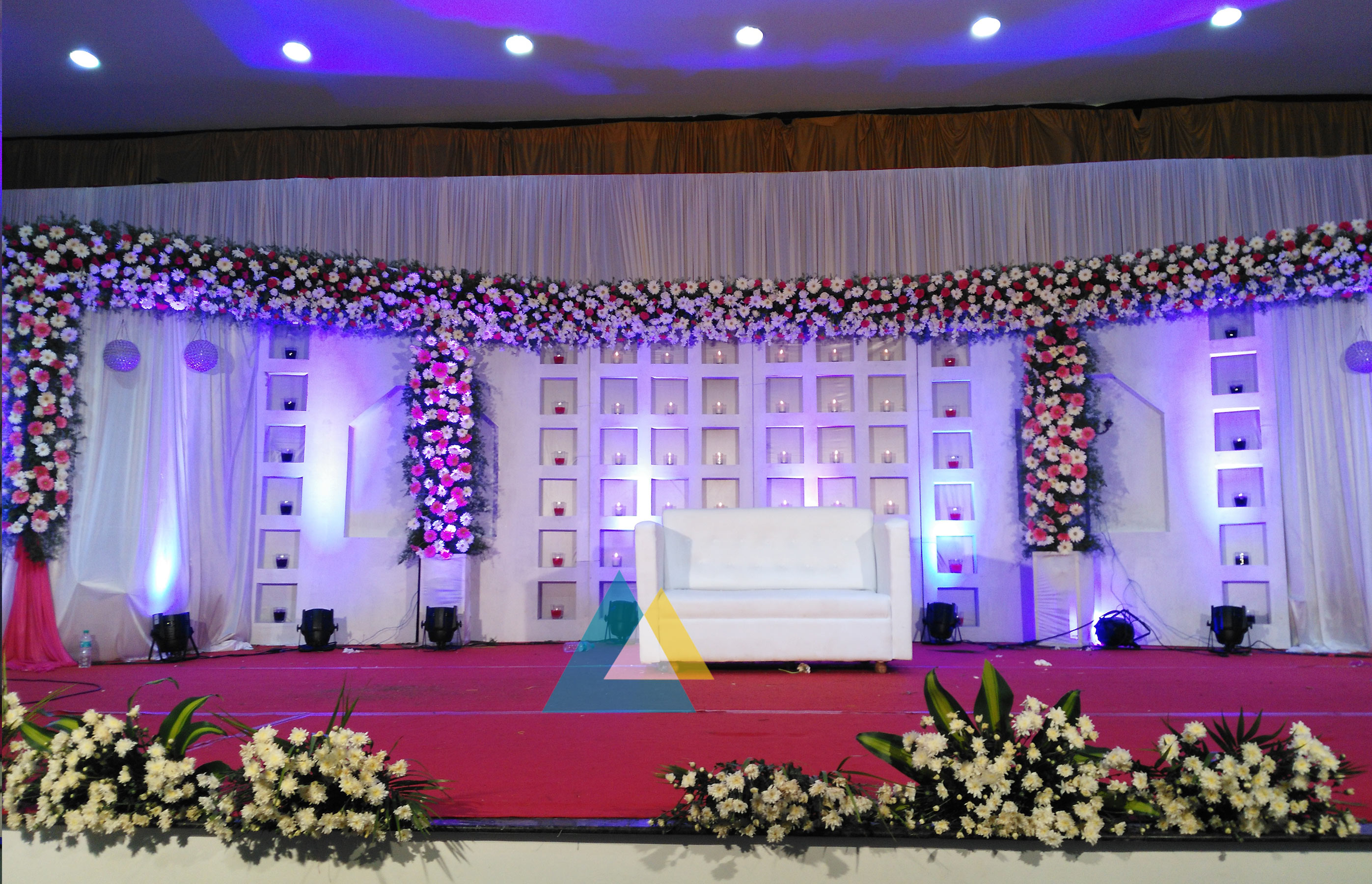Wedding reception decoration done at bkn auditorium for Marriage decoration photos