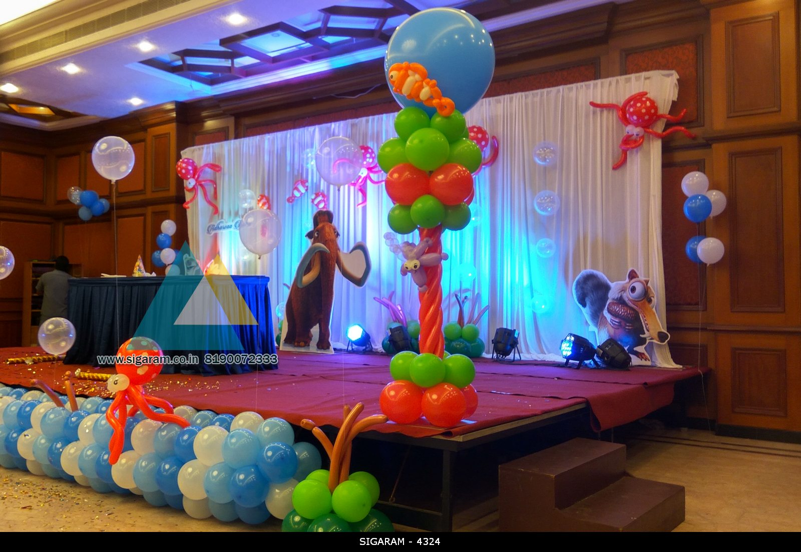 Themed birthday party decoration at hotel shenbaga for Balloon decoration in chennai