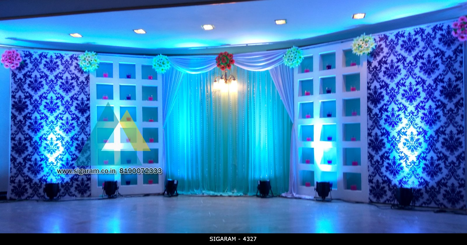 wedding reception stage decoration at le royal park hotel puducherry sigaram wedding decorators. Black Bedroom Furniture Sets. Home Design Ideas