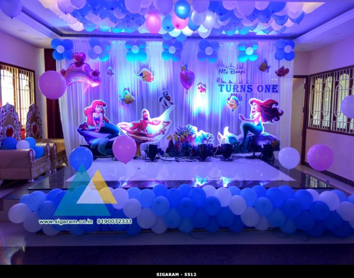 Little mermaid themed birthday decoration celebration for 1st birthday hall decoration ideas