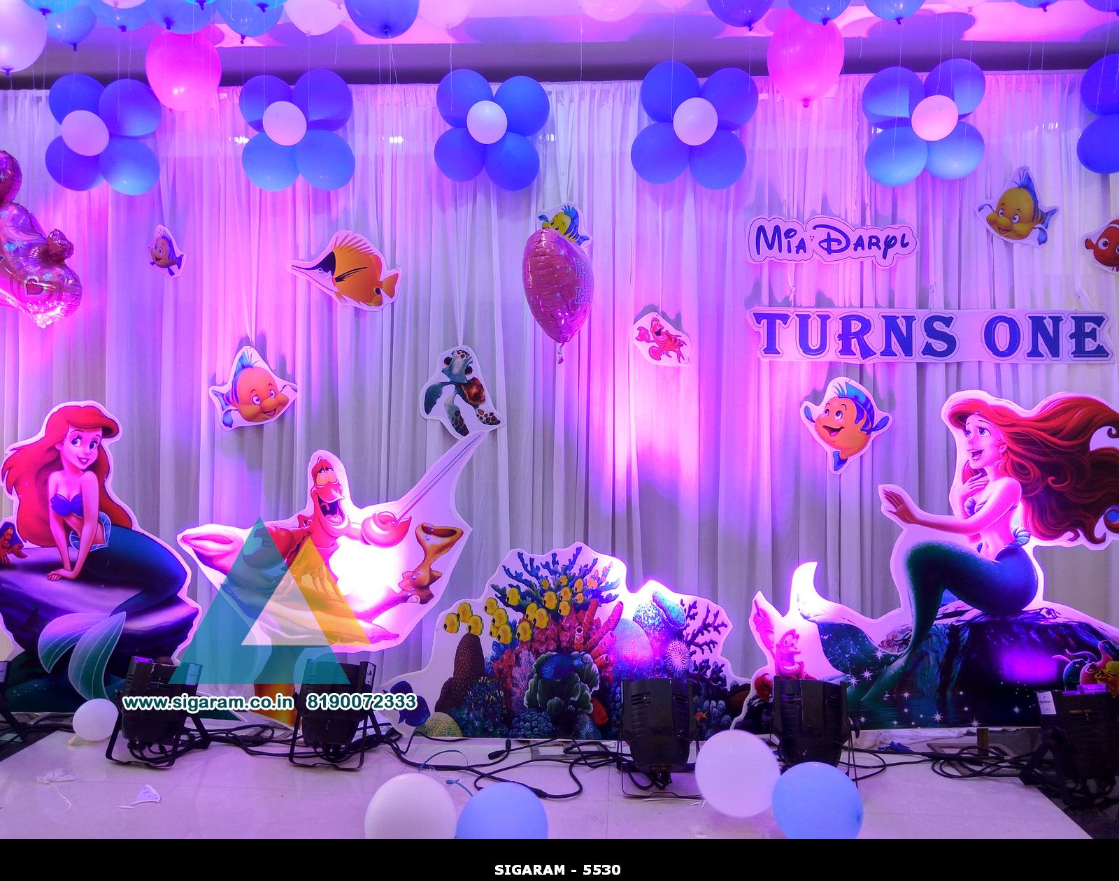 Little mermaid themed birthday decoration celebration hall pondicherry wedding decorators for Decoration image