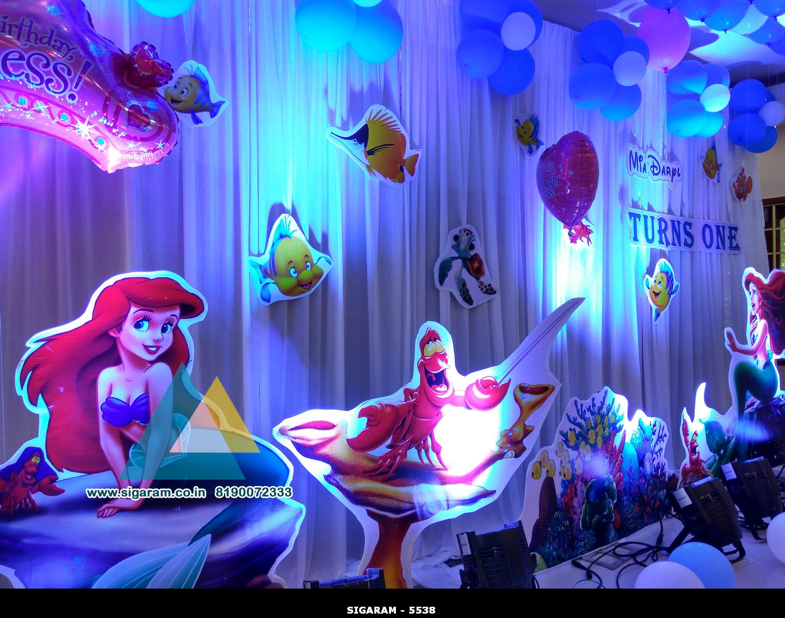 Little mermaid themed birthday decoration celebration for 1st birthday hall decoration