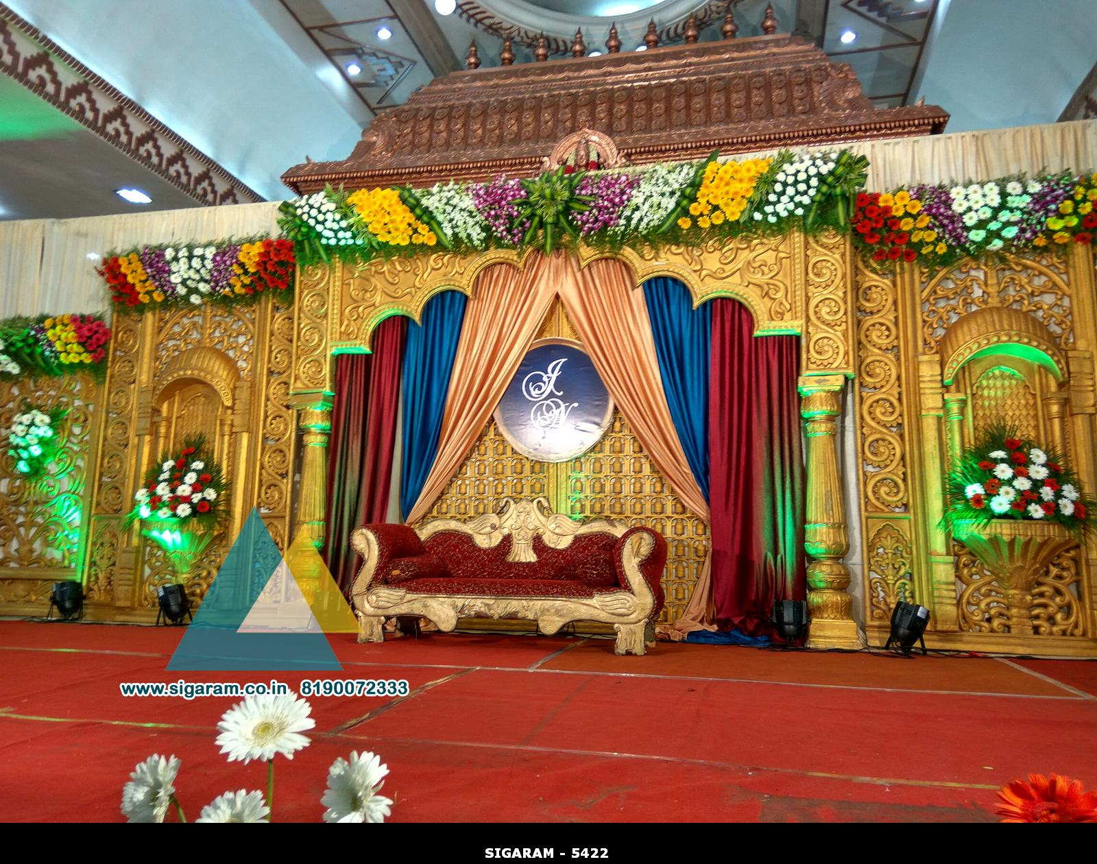 Wedding stage decoration jayaram thirumana nilayam for 7p decoration