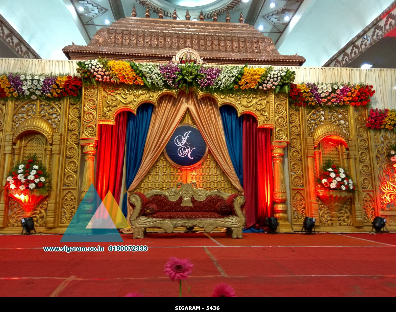 Wedding stage decoration jayaram thirumana nilayam for Decoration or