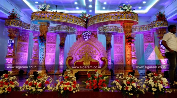 Wedding mandap stage decoration anandha thirumana nilayam puducherry 171 sigaram wedding decorators