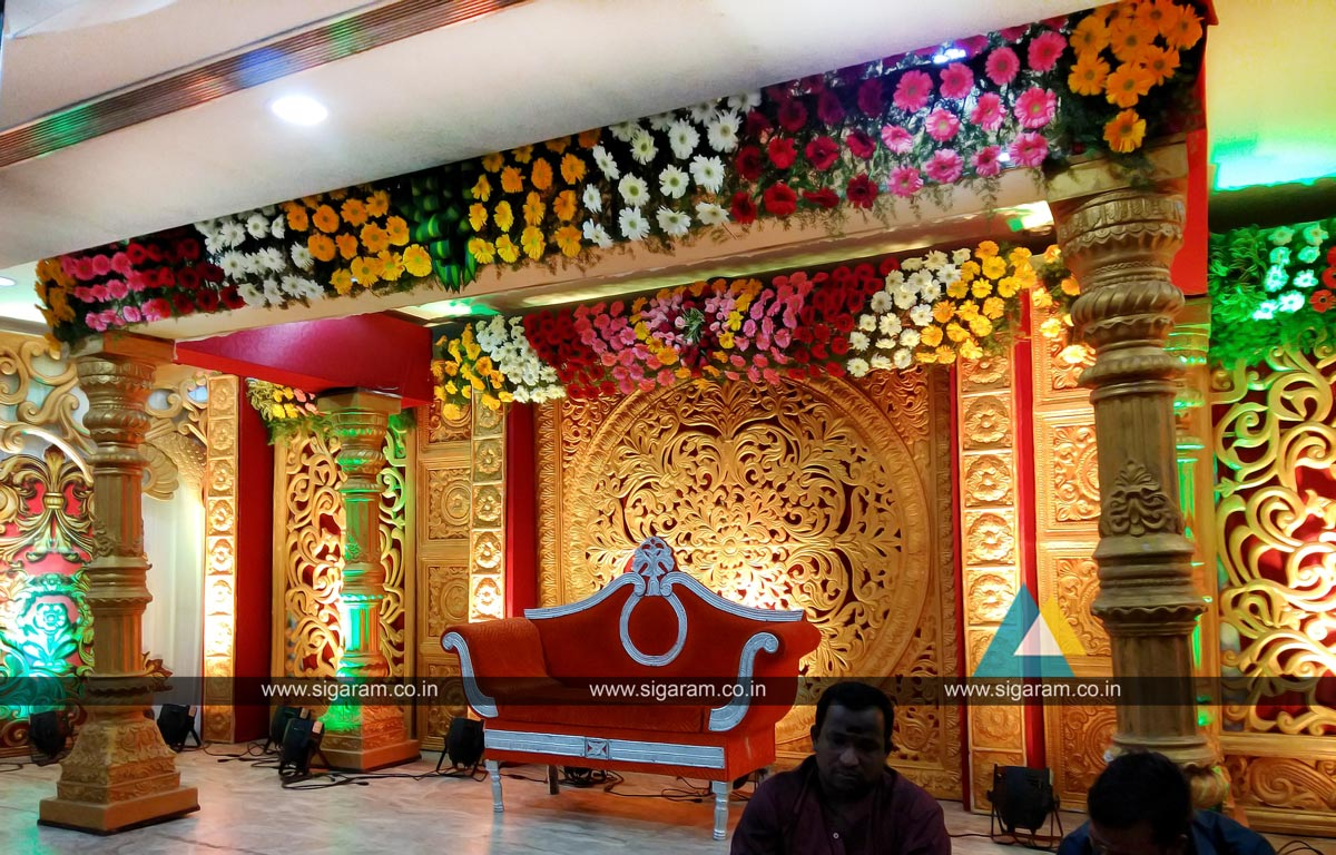 Wedding planning and wedding stage decoration ponmani for Marriage decoration photos