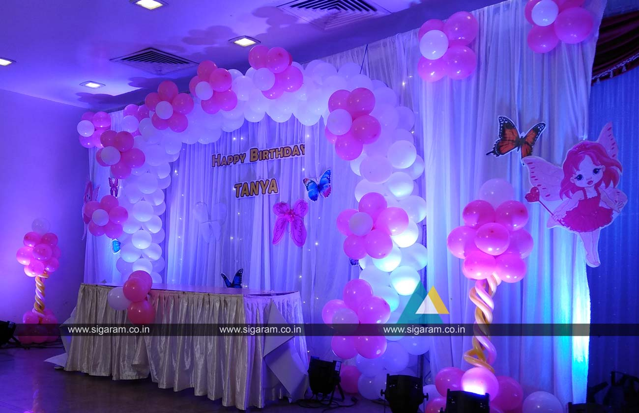 Birthday party balloon decoration hotel green palace for Balloon birthday decoration