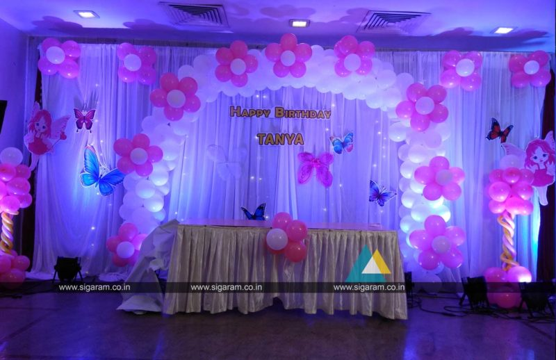Birthday stage decoration at home image inspiration of for Balloon decoration for stage