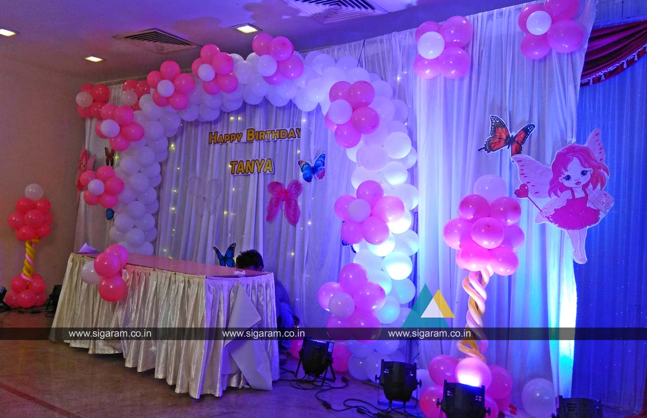 Birthday party balloon decoration hotel green palace for Balloon decoration images party