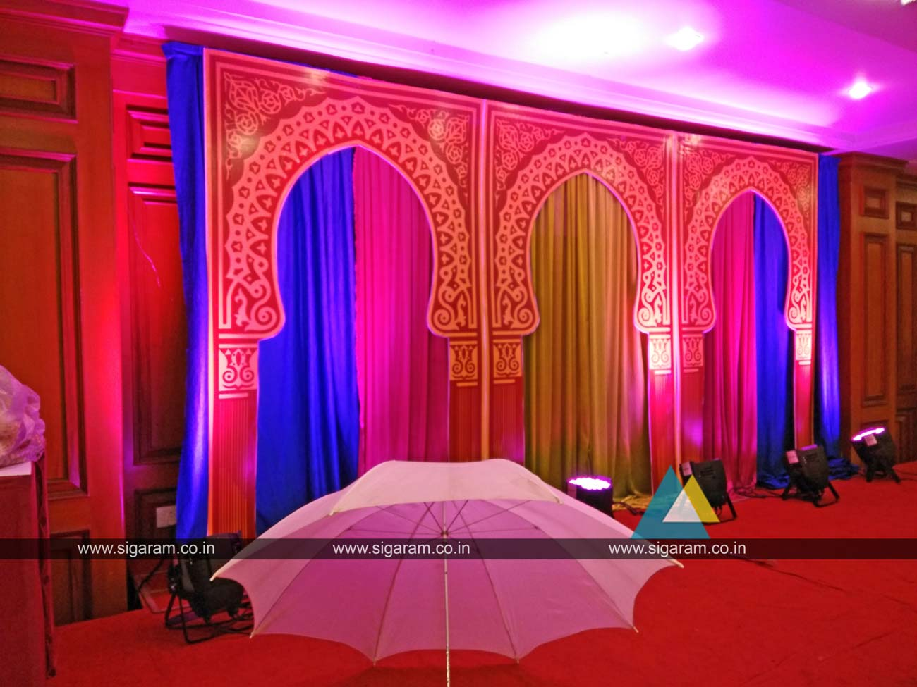 mehandi stage decoration done at hotel shenbaga convention centre