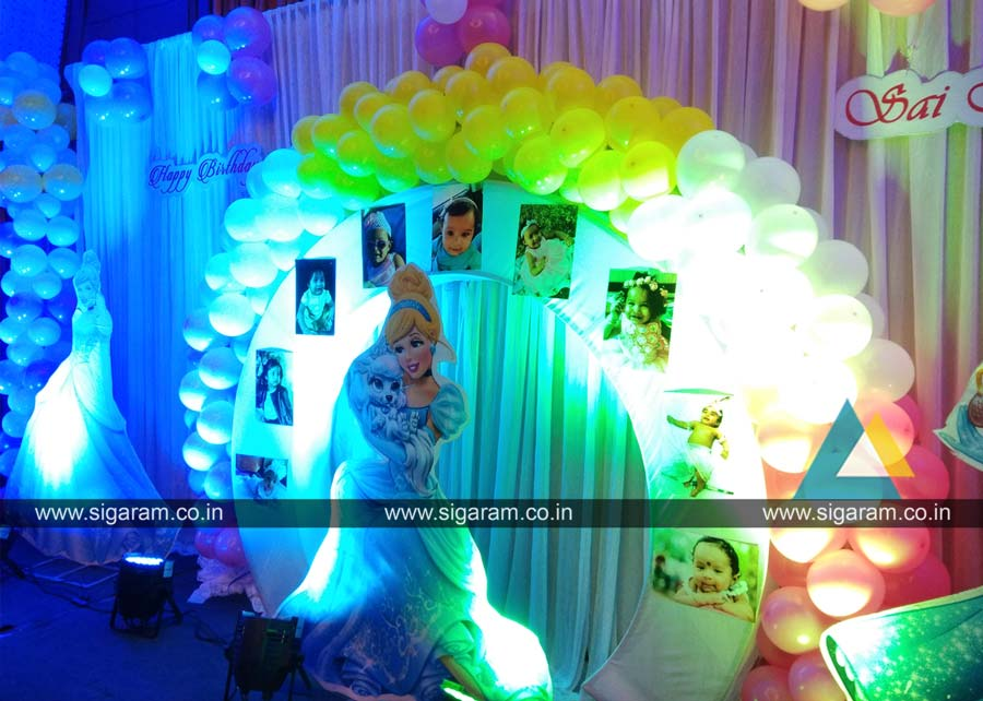 Princess themed birthday party decoration annamalai for 3d decoration for birthday