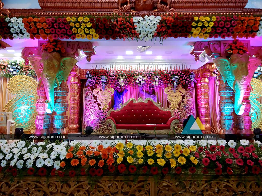 wedding stage decoration vel sokkanathan thirmana For7p Decoration