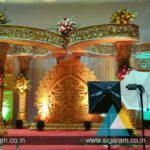 Engagement stage decoration at Logalakshmi Mahal, Villupuram