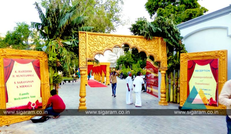 Reception stage decoration done at shri thangamayil thirumana mandapam mailam 171 sigaram wedding