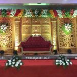 Reception Stage decoration done at SNR Mandapam, Keezhputhupet, Tamilnadu