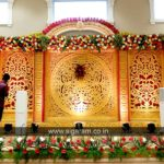 Reception Stage decoration done at Shri Thangamayil Thirumana Mandapam, Mailam