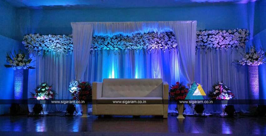 Outdoor Reception Stage Decoration At Hotel Ashoka Egmore Chennai Sigaram Wedding Decorators