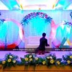 Reception stage decoration at Atithi Hotel, S.V. Patel Salai, Puducherry