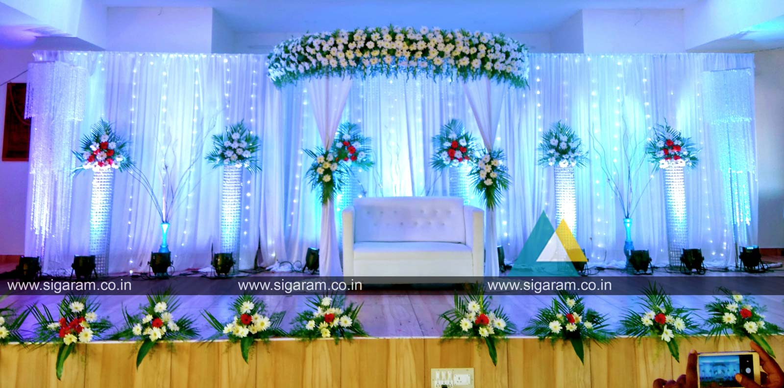 Reception stage decoration at sri sairam mahal ecr for Marriage decoration photos