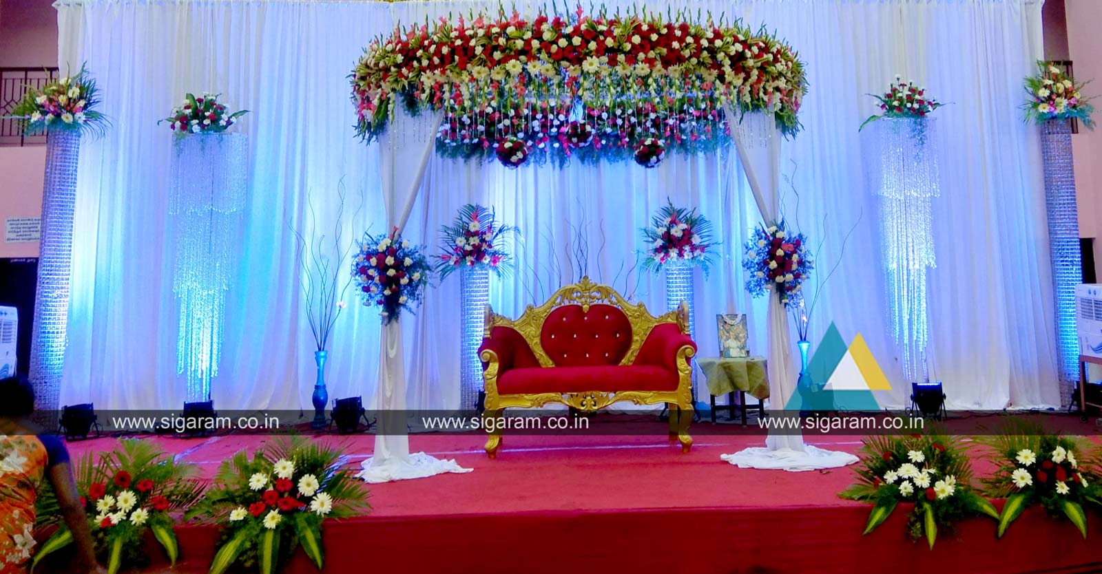 Reception reception stage decoration at kandhan thirumana for Latest decoration ideas