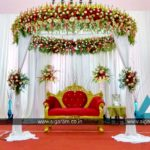 Reception reception stage decoration at Kandhan Thirumana Nilayam, Puducherry