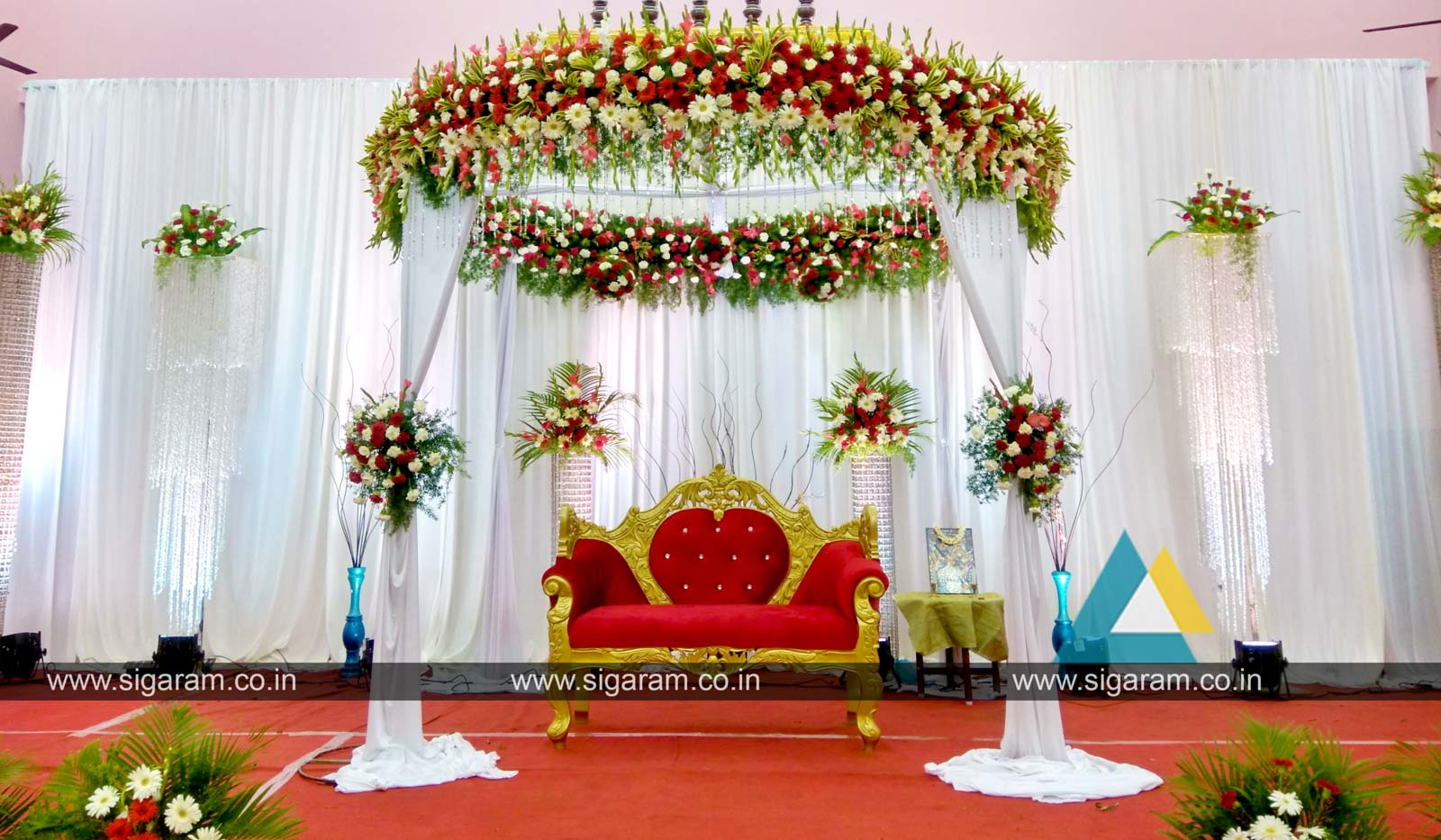 Reception reception stage decoration at kandhan thirumana for Marriage decoration photos