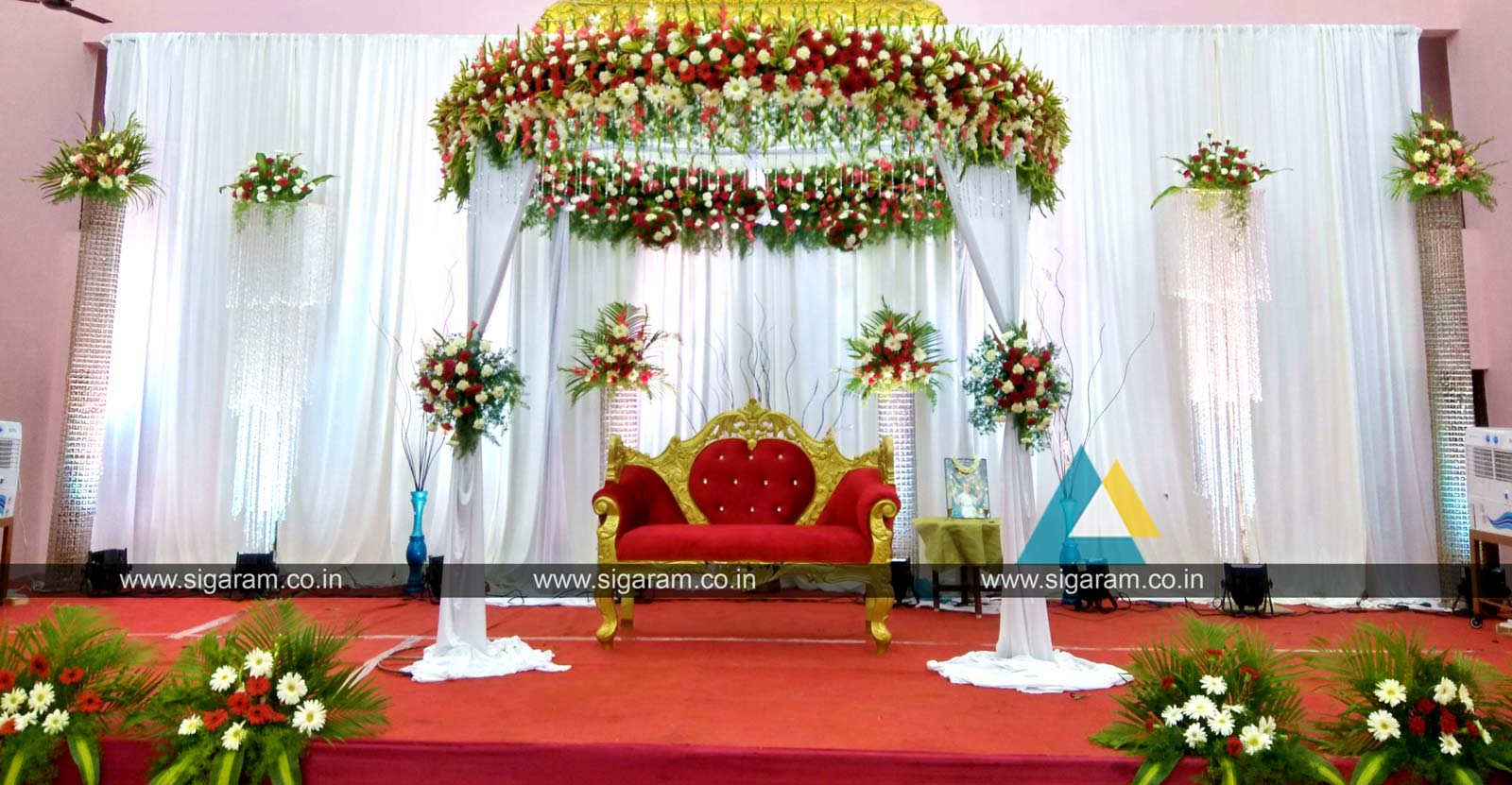Reception reception stage decoration at kandhan thirumana for 7p decoration