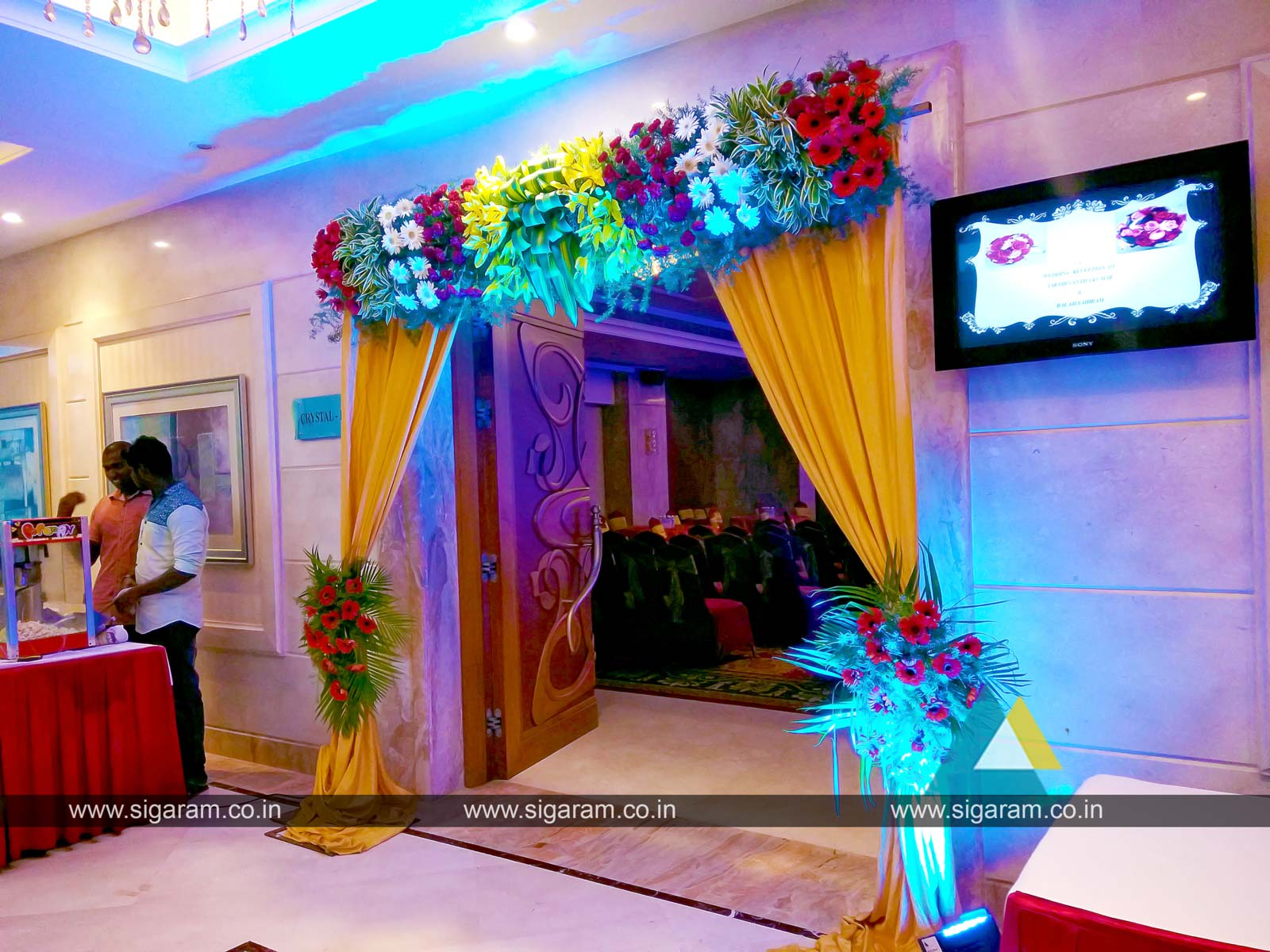 Reception and wedding stage decoration at accord hotel for Different types of wedding decorations