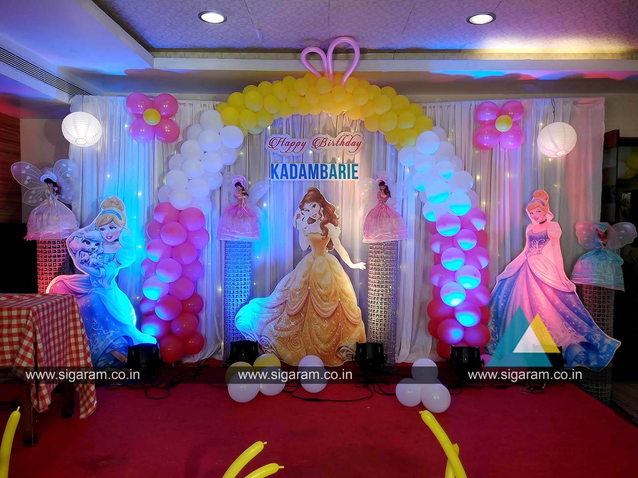Princess themed birthday balloon decoration at abirami for Balloon decoration birthday