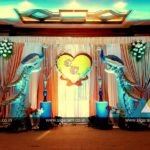 Peacock themed Engagement Stage decoration at Hotel Shenbaga, Puducherry