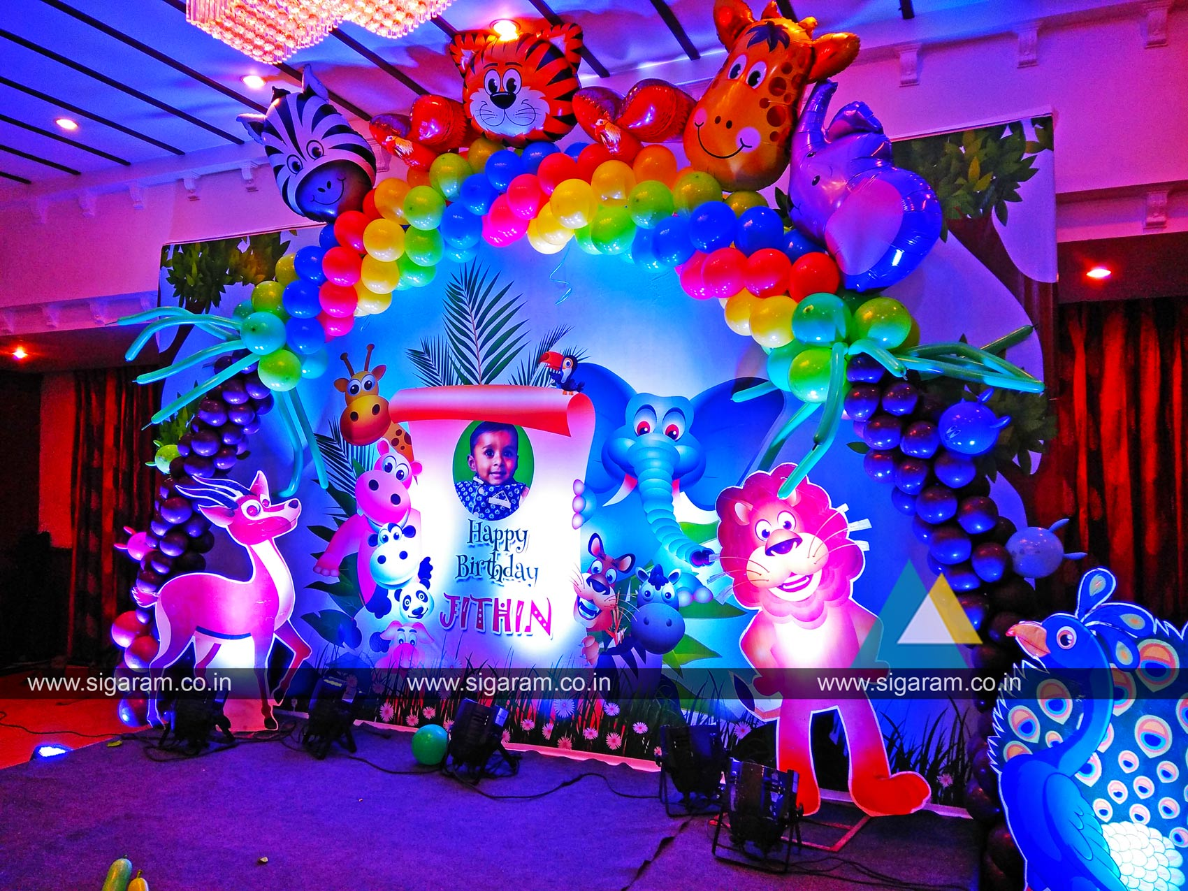 Jungle themed birthday party decoration annamalai hotel for Balloon decoration in coimbatore