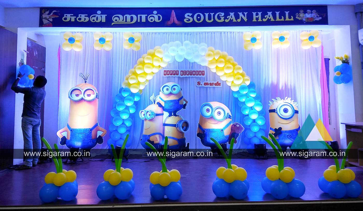 Minions Theme Birthday Decoration Sougan Hall Pondicherry 3