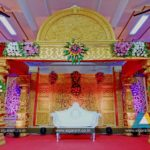 Reception stage decoration at Subburayalu Reddiar Kalyana Mandapam, Cuddalore