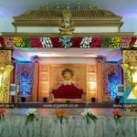 Reception stage decoration at Shree Raja Rajeswari Thirumana Mandapam, Pondicherry